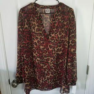 2x Anne Klein red leopard print blouse, GUC